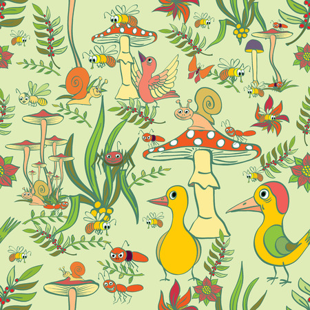 flora fauna: Picture of the forest life. Flora and fauna.