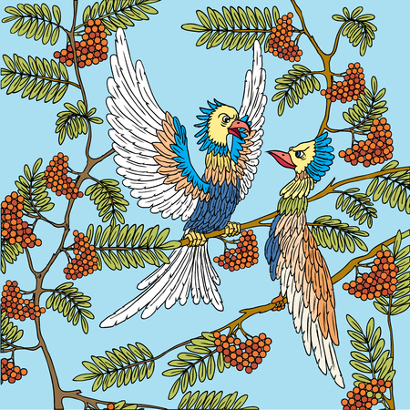 love song: Birds on a tree branch. Love Song. Illustration