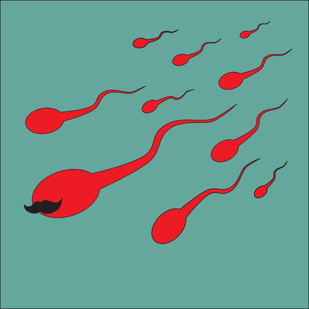 male sperm: The mustachioed sperm ahead of all. Illustration