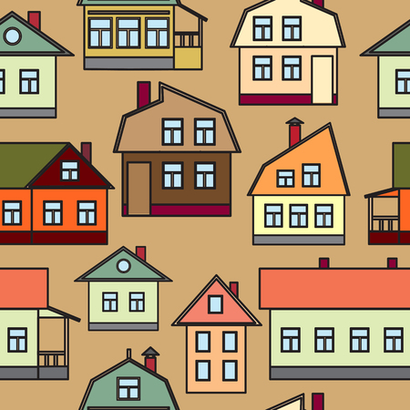 homes: Seamless texture of urban homes. Dense buildings. Vector illustration.