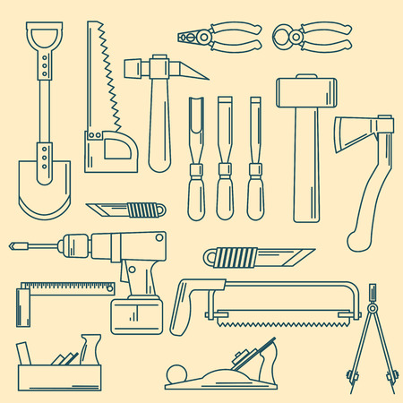 set of hand tools for productive work illustration.