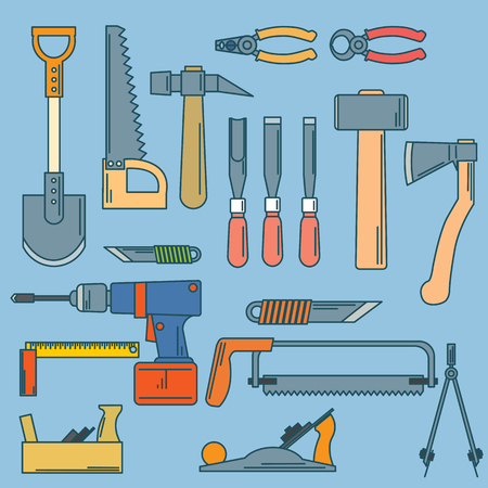 productive: set of hand tools for productive work illustration.