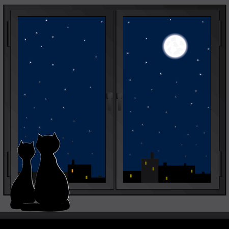 windowsill: Two cats sitting on a windowsill and look at the moon.