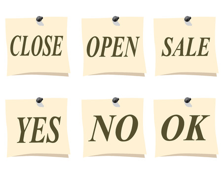 memo pad: A small piece of paper. Remember close, open, sale, yes no