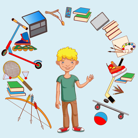 The teenager and his interests, sports, employment, education development Illustration