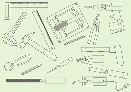 soldering: A set of hand tools for productive work. Production on the drawing model. Vector illustration.