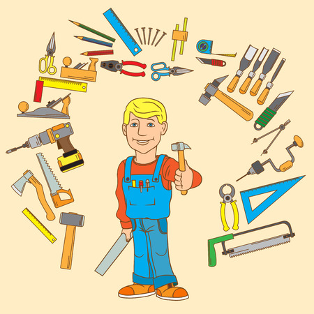 Handyman and set of hand tools for productive work. Vector illustration. Illustration