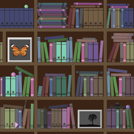 interesting: Bookshelves. A lot of interesting books. Vector illustration