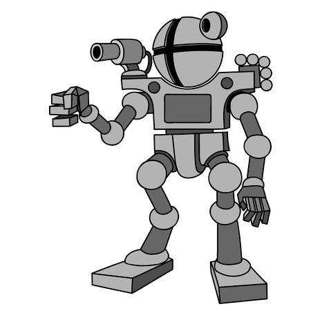 humanoid: Vector image of robot with two arms and two legs.Future, technology, modern. Vector humanoid robot. Illustration