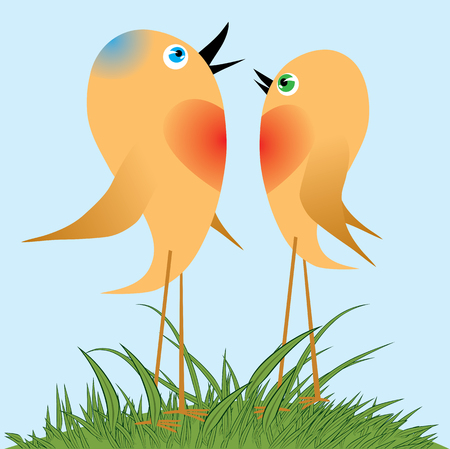 Birds sing a song of love spring. The awakening of nature.