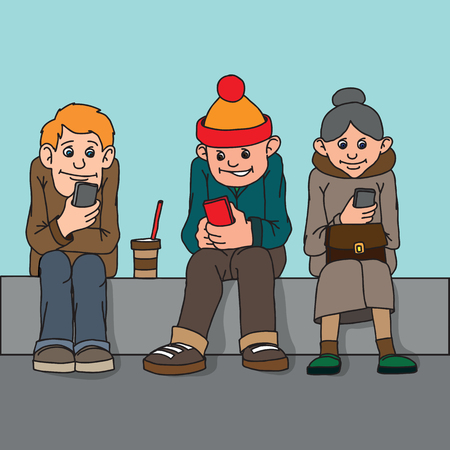 Young people and middle-aged woman isolated. Sit on the bench. Attention to each other do not pay. Listen to music, chatting on the Internet.