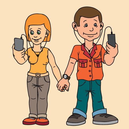 Young man and woman isolated. On a date. Attention to each other do not pay. Listen to music, chatting on the Internet.