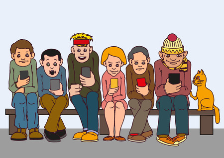 Young people isolated. Sit on the bench. Attention to each other do not pay. Listen to music, chatting on the Internet.