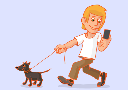 The man went for a walk with the dog. He is passionate about his smartphone, focus on a dog does not pay. Smartphone in hand. Ilustrace