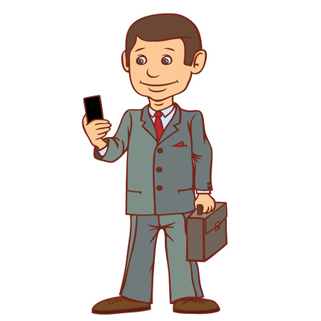 A businessman is standing with a phone in his hand. Very passionate about communication. Vector illustration. Illustration