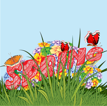 Background made up of flowers and plants. Herbs and flowers. Botany. Illustration