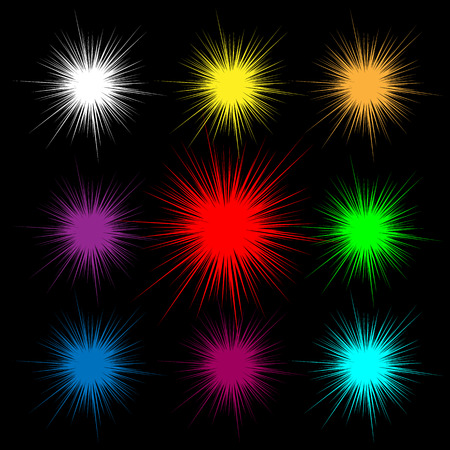 A flash of light and fire. Colorful explosion of light on a black background. White, yellow, red fire.