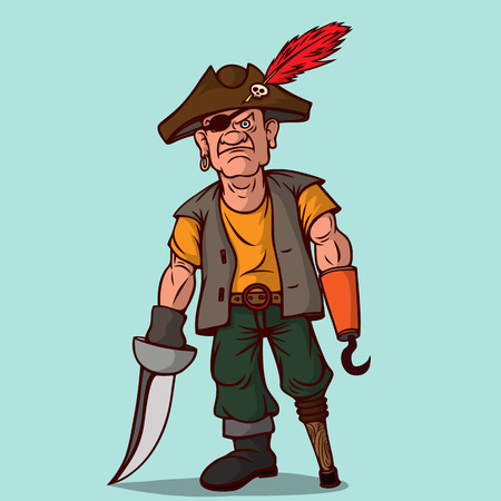 Pirate with a sword on a wooden leg. Instead of one hand, a hook. One eye. Vector illustration. Illustration
