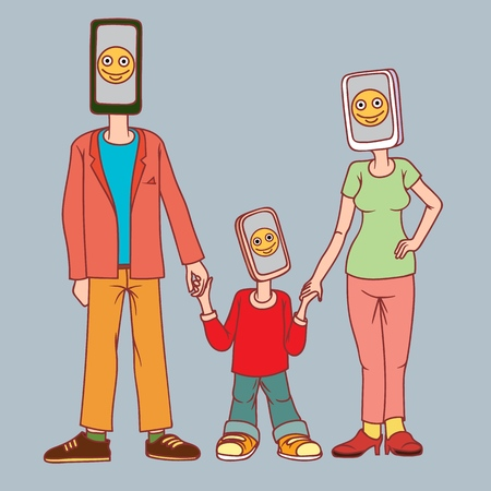 A man, a woman and a child with a phone instead of a head.   Vector illustration.