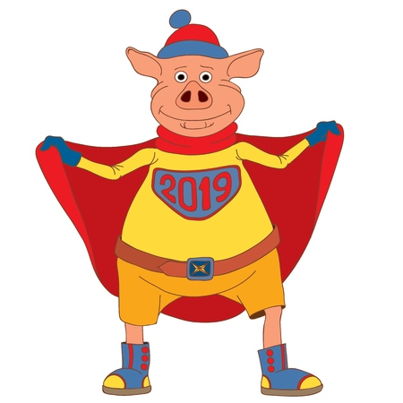 Sign of the Chinese New Year. Mighty little pig. Superhero. Vector illustration.