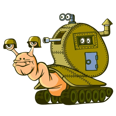 Snail armored, on tracks. Ready to overcome obstacles. Protected by armor. Vector illustration.