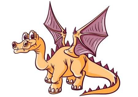 Fantastic dinosaur with wings. Long neck, long tail. Wide wings. Vector illustration.