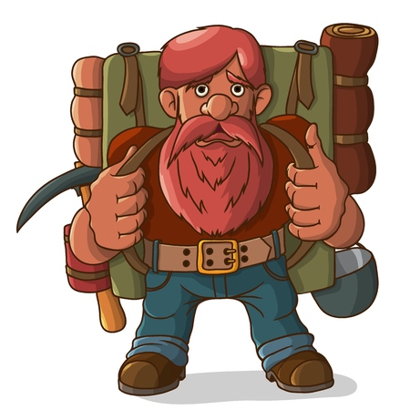 Gnome with a backpack and ammunition. Ready for a hike and adventure. Vector illustration.