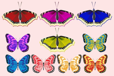 A set of butterflies of different colors. For web and illustrations. Vector illustration. Ilustração
