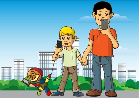 The city, modern houses, Two boys walk without stopping from smartphones and social networks. Vector illustration Ilustração