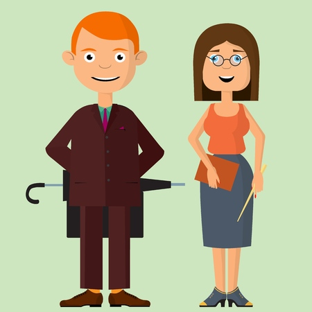 A young couple, a man and a woman, These are teachers at school. Education and training of the growing generation. Vector illustration Stock Vector - 126336635