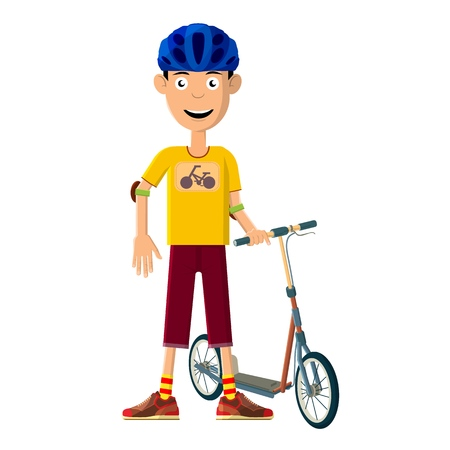 The young man goes in for sports. He is engaged in training with a scooter. Vector illustration