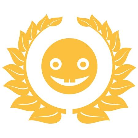 Happy emoticon chat symbol. muzzle inscribed in a wreath. Vector illustration.
