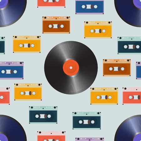 Composition of laser discs, vinyl and audio cassette. Seamless vector illustration