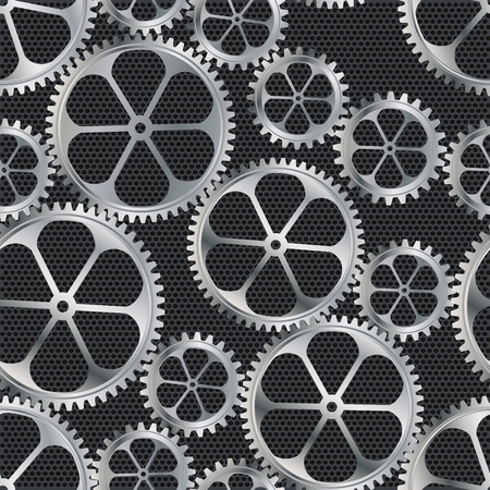 Seamless texture. Background composed of metal gears. Technogenic background. Vector illustration. Ilustrace