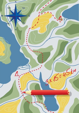 Map with travel planning. Adventure for a team of tourists for several days. Vector illustration.