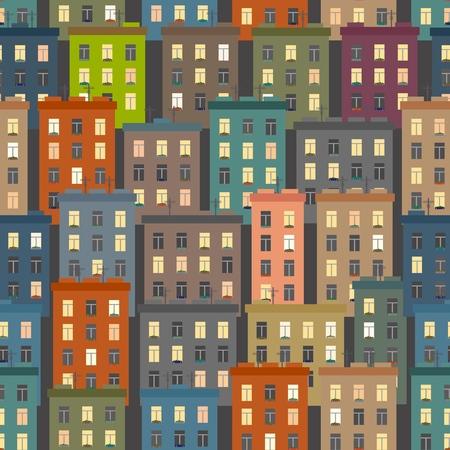Seamless texture of urban homes. Seamless. Dense buildings. Vector illustration Stock Vector - 117104781