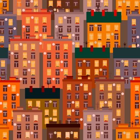 Seamless texture of urban homes. Seamless. Dense buildings. Vector illustration