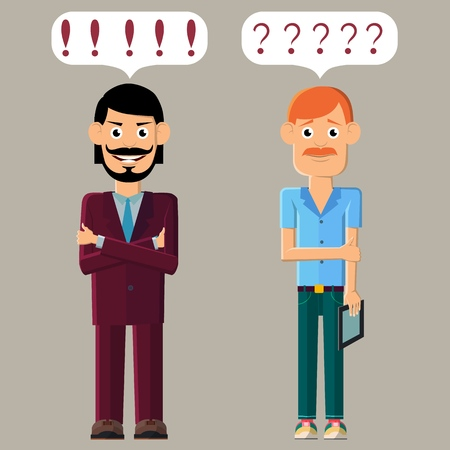 Two young men. One is confident and ready to do business. The other is overwhelmed with doubts. Vector illustration.