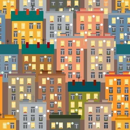 Seamless texture of urban homes. Seamless. Dense buildings. Vector illustration Stock Vector - 117104791