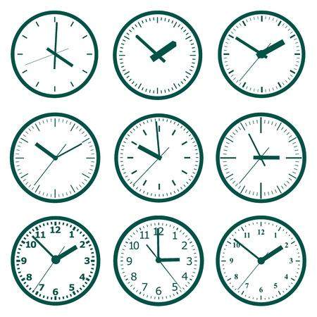 Icône de l'horloge. Concept de l'heure du monde. Fond d'affaires. Marketing en ligne. Infographie quotidienne Vecteurs