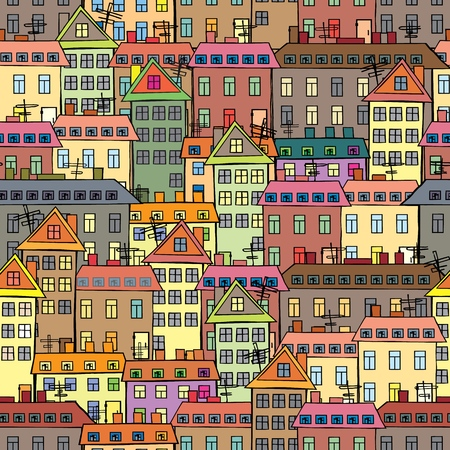 Seamless texture of urban homes. Seamless. Dense buildings. Vector illustration