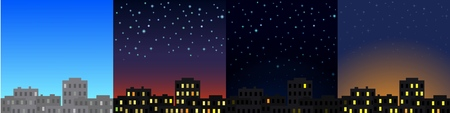 Morning, afternoon, evening and night city landscape, city buildings at different times. Vector illustration.