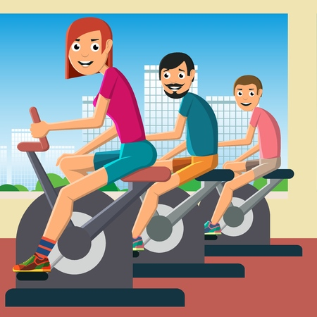 A young girl and men are engaged in training on a stationary bike. Caring for health and good mood. Vector illustration