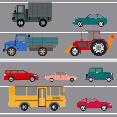 City street with heavy traffic. Vector illustration. Ilustrace