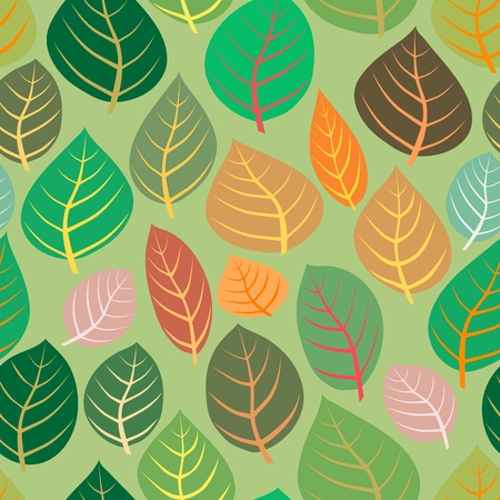A variety of leaves on a green background. Vector seamless illustration.