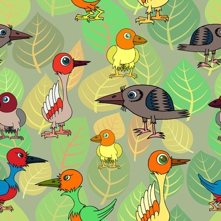 Strange birds on the background of leaves. Seamless vector illustration.