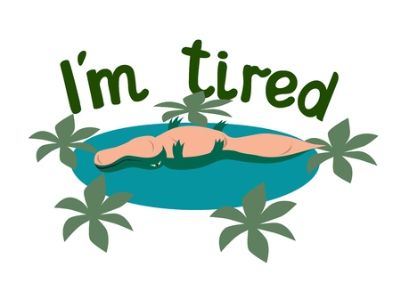 Lettering. Im tired. The phrase expressing the idea. The little crocodile tries to illustrate the words. Vector illustration. Ilustração