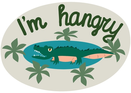 Lettering. Im hangry. The phrase expressing the idea. The little crocodile tries to illustrate the words. Vector illustration.