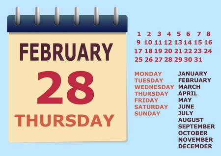 Calendar on the wall. The ability to build any day and month. Flat vector illustration. Ilustrace