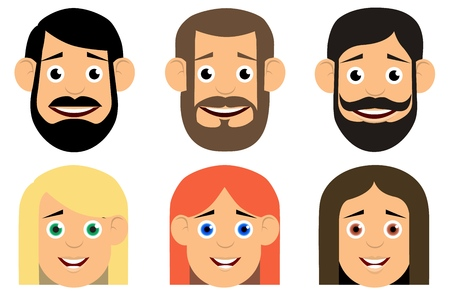 Set of avatars. Flat icons. Characters for web. Vector illustration.